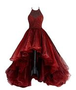 Halter Organza Hi Low Beaded Burgundy Prom Dresses Homecoming Dresses - $159.99