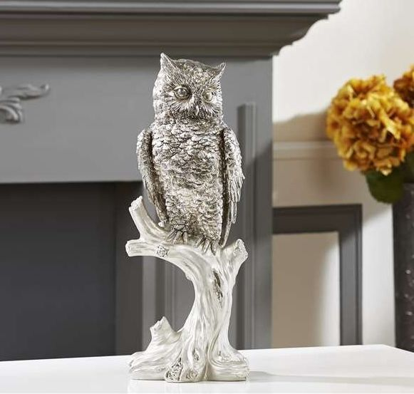 "15.9"" Silver Owl on a Branch Statue Polyresin NEW"