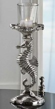 "14"" Seahorse Tealight Holder Nickel Plated Aluminum with Glass Tealight Cup"