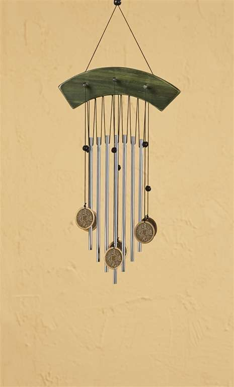 "18"" Zen Asian Style Windchime Metal & Wood NEW"