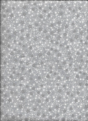New Gray Mini Stars 100% Cotton Flannel Fabric by the Quarter Yard