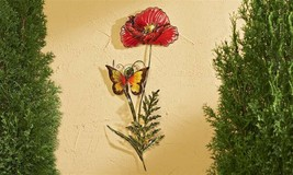 "30.9""  RED FLOWER & BUTTERFLY METAL & GLASS WALL DECOR PIECE  INDOOR OUTDOOR"