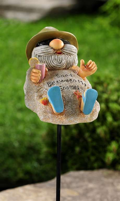 "Beach Sand Gnome Garden Stake -  39.4"" high  - Double Pronged Iron Stake"