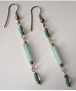 Teal Aqua Handmade Beaded Earrings Dangle Beads Silver Metal Pierced  - $25.00