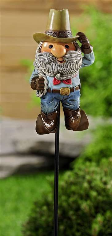 "Cowboy Gnome Garden Stake -  40"" high  - Double Pronged Iron Stake"
