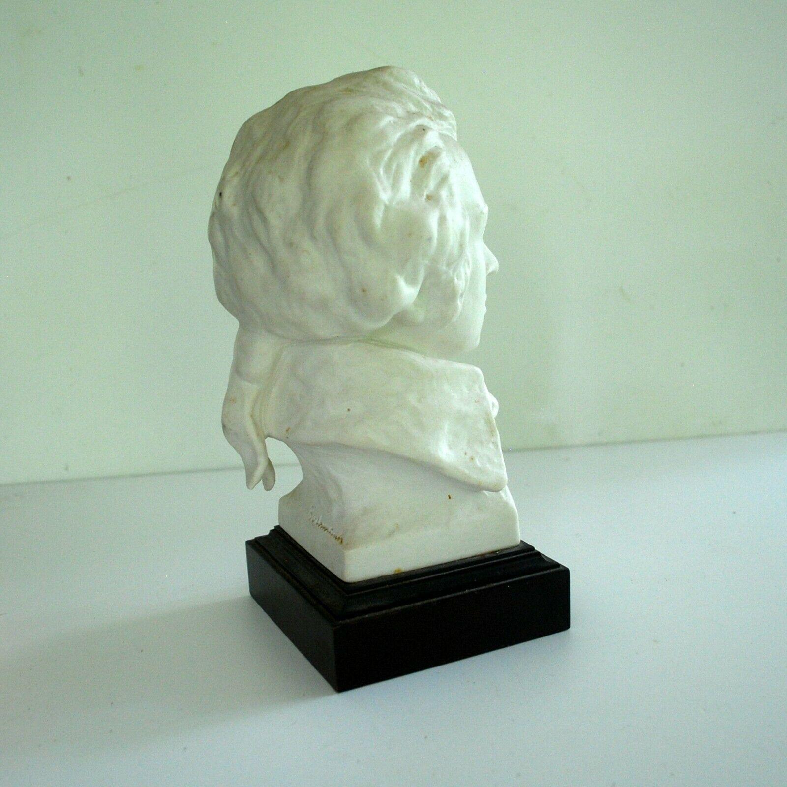 Vintage Porcelain Bust of Wolfgang Amadeus Mozart on Black Plinth