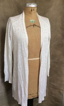 Womens White Linen Cotton Open Cardigan Sweater Eileen Fisher Nubby Textured S - $145.04