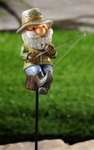 "Fisherman Gnome Garden Stake -  41.7"" high  - Double Pronged Iron Stake"