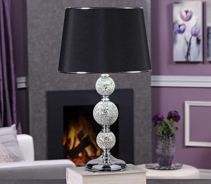 "Elegant 19""  Silver Painted Glass Table Lamp with Black Drum Shade 3 way Rotary"