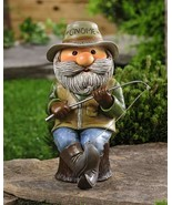 "Fisherman Garden Gnome Statue - Fishing - 11.6"" high Blue Brown Polyresin - $49.99"