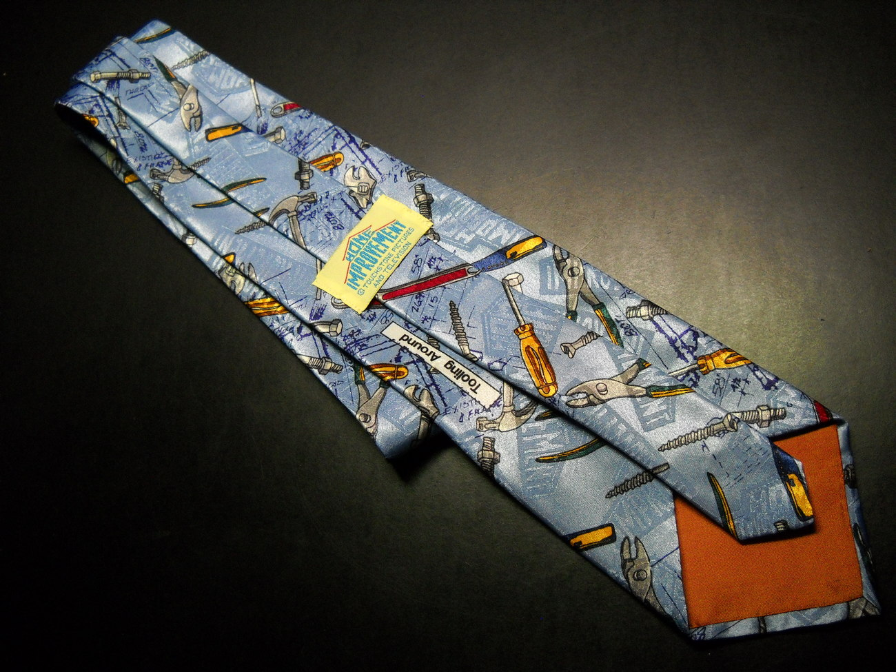 Home Improvement Dress Neck Tie Titled Tooling Around Blue Hues with Tools