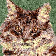 Latch Hook Rug Pattern Chart: Maine Coon Cat pillow top - EMAIL2u - $5.50
