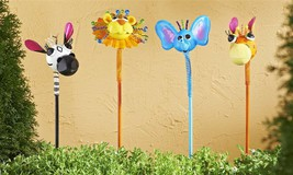 Metal Zany Animal Garden Stakes - 4 Choices - Lion, Elephant, Giraffe or Zebra
