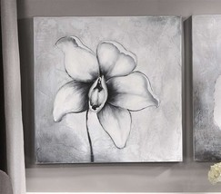 "Orchid Black & White Stretched Canvas Print 23"" x 23"" - NEW"