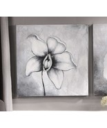 """Orchid Black & White Stretched Canvas Print 23"""" x 23"""" Home Wall Decor Fl... - $56.42"""