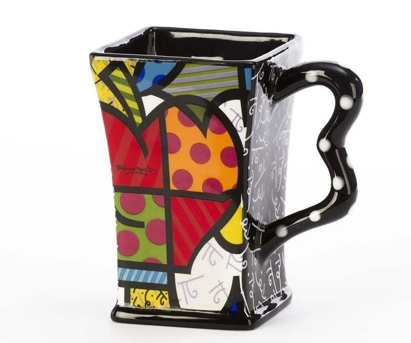 Romero Britto Dolomite Square Apple Mug 14 oz Gift Box NEW Giftcraft #3303013