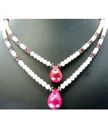 Natural Hand faceted Red Ruby with Pearl Tradit... - $198.72
