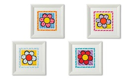 "Romero Britto Set of 4 - 11.8"" x 11.8 "" White Framed Flower Poster Prints NEW"