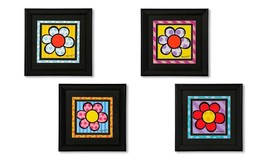 "Romero Britto Set of 4 - 11.8"" x 11.8 "" Black Framed Flower Poster Prints NEW"