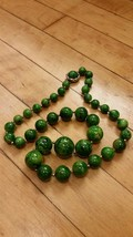 Vintage Bakelite Marbleized Green & Butterscotch Graduated Beads Necklace - $69.29
