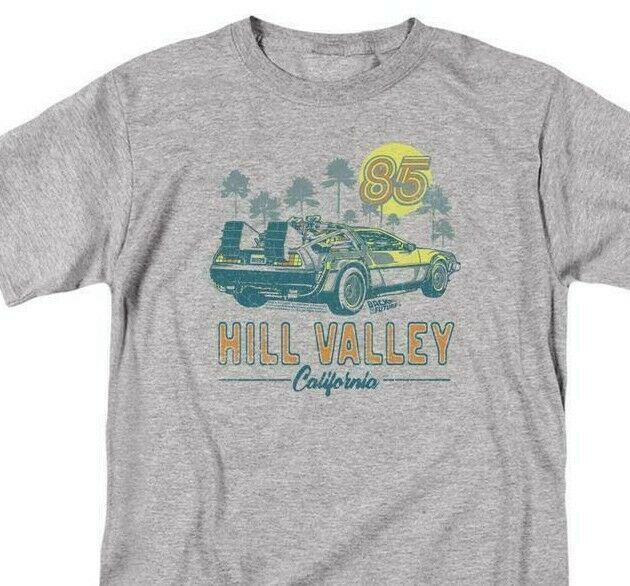 Back To Future T-shirt Hill Valley 85 1980s movie retro cotton tee UNI1126