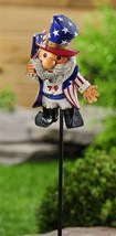 "Star Spangled Gnome Garden Stake -  40.8"" high  - Double Pronged Iron Stake"