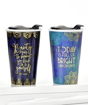 Set of 2 Avenue 9 Peacock Boutique Inspirational Ceramic Travel Mugs 12 oz  NEW