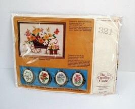Craft Circle Flower Cart Needlepoint Kit 321 New Sealed Vintage - $24.95