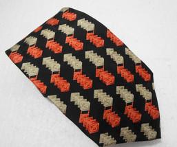 """Valentino Cravatte Black Salmon Peach Ivory Silk Necktie 3 7/8 x 58"""" Ita... - $40.78"""