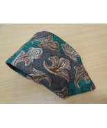 Valentino Cravatte Green & Brown Abstract Floral Silk Necktie Made in Italy - $38.17