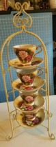 """VTG 22"""" Stand with Anco Floral Gold Accent Tea Cups and Matching Saucers - $59.40"""