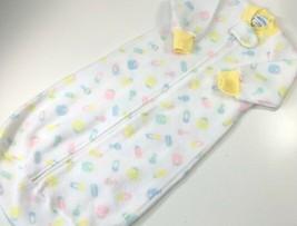 Vtg Carters Girls Fleece Sleep Sack Sleeping Bag White Yellow Full Zip O... - $14.84