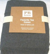 Two POTTERY BARN  Favorite Tee Charcoal  Gray Grey Pillow Cases 20 by 26... - $32.65