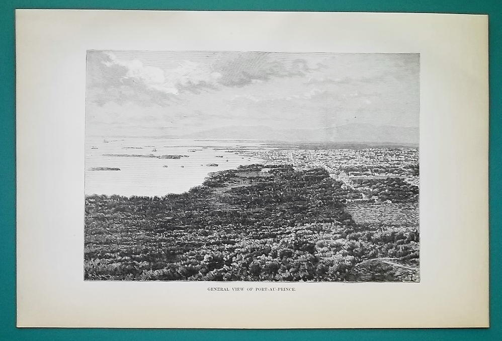 HIATI View of Port-au-Prince - 1891 Antique Print Engraving