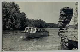VTG Kodak Photo Postcard Olson Boat Co. Hiawatha at Chimney Rock Wiscons... - $19.55