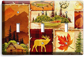 Hunting Cabin Fishing Moose Patchwork 3 Gang Light Switch Wall Plates Room Decor - $18.99