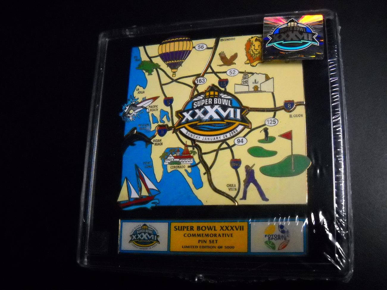 Sport memorabilia pins super bowl 37 san diego 2003 boxed   sealed 01