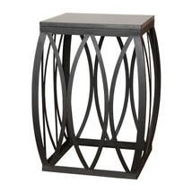 "BLACK METAL & GRANITE Side or End Table, 13"" W x 19"" H, Indoor or Outdoo... - $369.00"