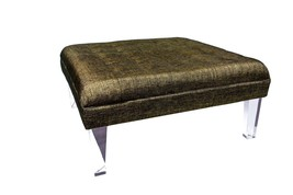BROWN TUFTED LUCITE BENCH, 44W x 44D, Acrylic Legs, Hollywood Regency GLAM! - $1,699.00