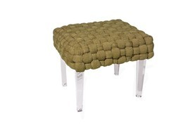 BROWN WOVEN LUCITE BENCH, 24W x 20D, Acrylic Legs, Hollywood Regency GLAM! - $1,149.00