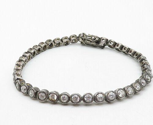 925 Sterling Silver - Vintage Round Cut Topaz Dark Tone Tennis Bracelet - B4620