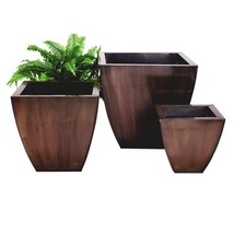 """SET of 3 ZINC SQUARE TAPERED PLANTERS, Copper Finish, 12"""", 16"""", 20"""", MODERN - €256,21 EUR"""