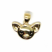 18K YELLOW GOLD MINI PENDANT, CHIHUAHUA DOG, SMOOTH BLACK ZIRCONIA MADE IN ITALY image 2