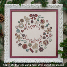 Cookies Christmas Wreath cross stitch chart Filigram - $9.00