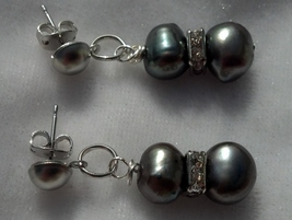 Gray Freshwater Pearls Crystal Earrings Mother's Day Gift Hand Made In USA - $39.99