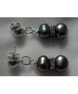Freshwater Pearls & Swarovski Crystal Earrings Hand Made In USA - $39.99