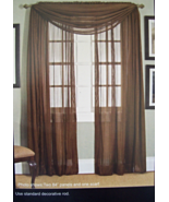 "Extra long  ""Grantley"" Window Scarf / Valance  - Semisheer - Chocolate #... - $15.49"