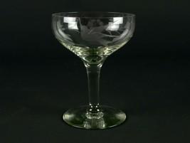 "Fostoria 863 Tall Sherbet w Gray Cut Bird & Floral, Antique Elegant Glass 4 1/2"" - $9.80"