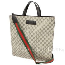 GUCCI Tote Bag GG Supreme Canvas Leather Beige 456217 2way Authentic 491... - $919.42