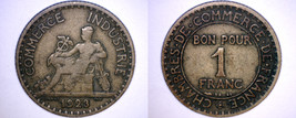 1923 French 1 Franc World Coin - France - $4.99